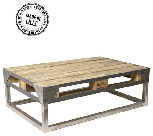 table basse palette industrielle cargo couleur vert mousse industriel table basse par. Black Bedroom Furniture Sets. Home Design Ideas