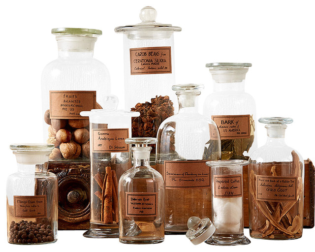 Botany Apothecary Jars, Set of 9 - Traditional - Decorative Jars And Urns - by Bliss Home & Design