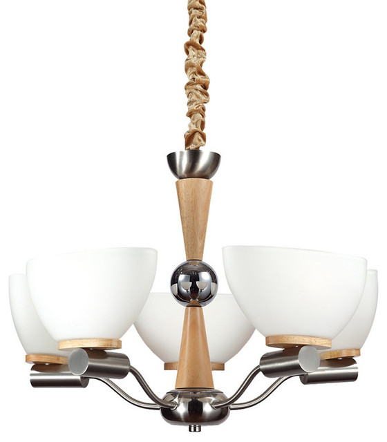 White Bowl Chandelier With Shade