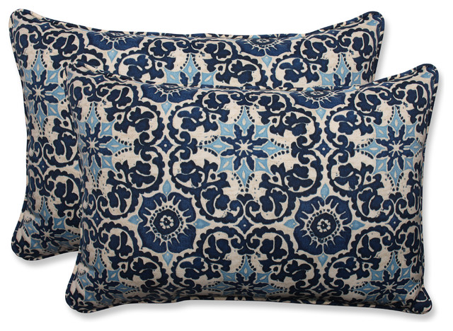 Woodblock Prism Blue Oversized Rectangular Throw Pillow, Set of 2 - Mediterranean - Outdoor ...