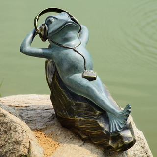 Mellow Frog Garden Sculpture with Bluetooth Speakers Eclectic
