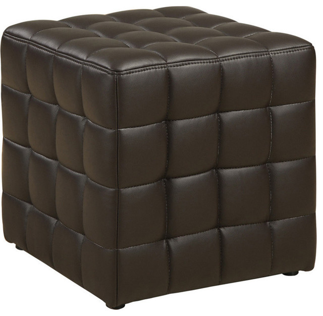 ottoman dark brown leather look fabric footstools and ottomans by yolostocks. Black Bedroom Furniture Sets. Home Design Ideas