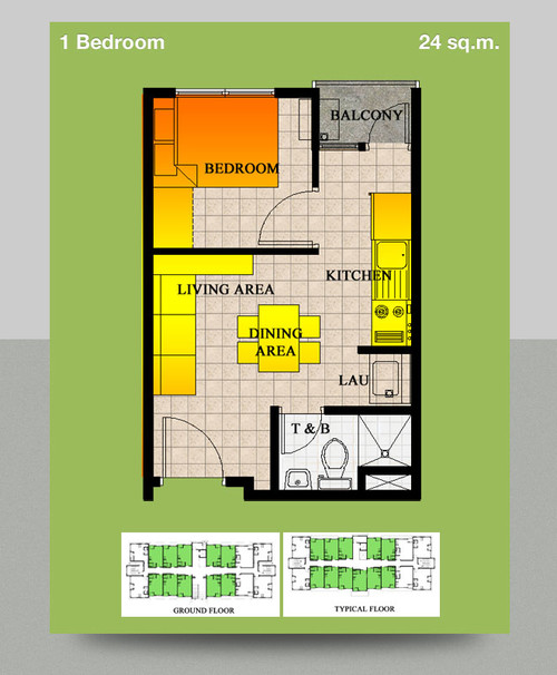 I need a design for my 24 sq meter condo for 8 sqm room design