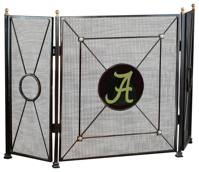 3 panel collegiate fire screen university of alabama contemporary fireplace screens by - Choosing the right contemporary fireplace screens ...