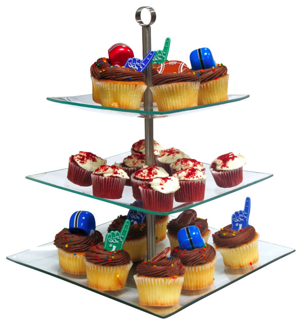Square 3 layer glass cake desert stand party display