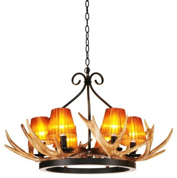 unique faux antler iron wagon wheel chandelier rustic