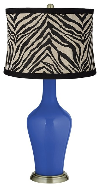 Dazzling Blue Zebra Print Shade Anya Table Lamp - Contemporary - Table Lamps