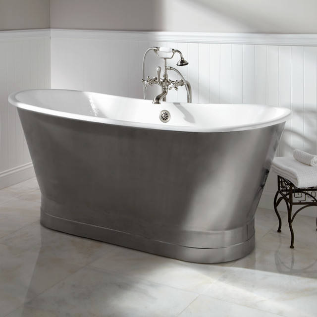 68 Quot Rowley Cast Iron Bateau Tub With Stainless Steel Skirt