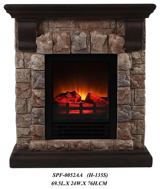 dark faux stone portable fireplace small rustic tabletop