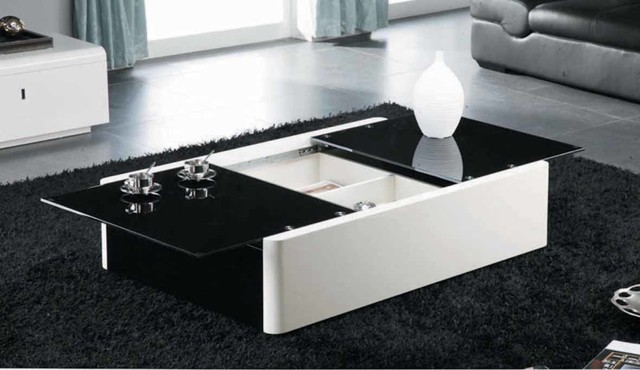Modern black and white coffee table with storage aosta for Black and white glass coffee table