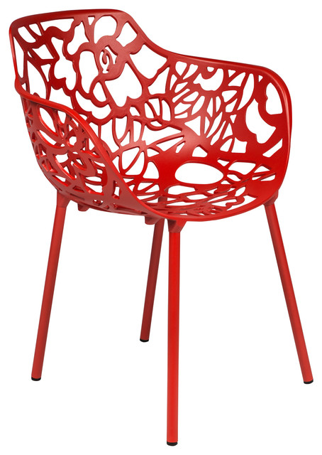 Devon modern red aluminum chair contemporary dining for Red modern dining chairs