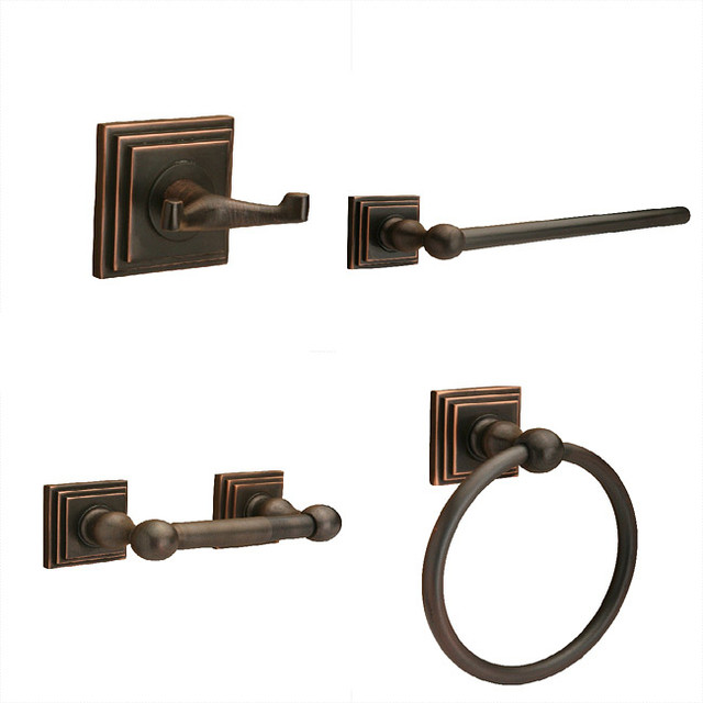 Sure loc oil rubbed bronze pueblo 4 piece bathroom for Bronze bathroom accessories