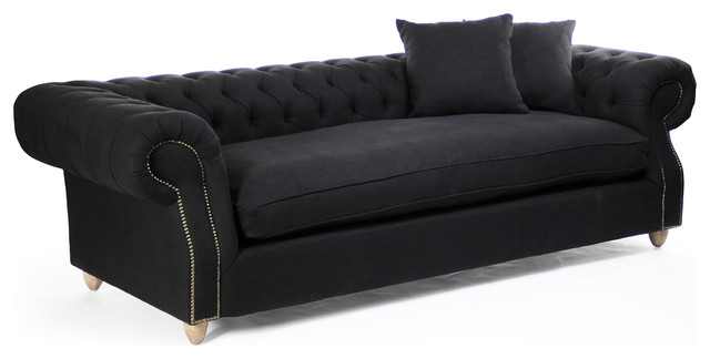 Alaine Black Tufted Roll Arm English Chesterfield Sofa Transitional Sofas by Kathy Kuo Home