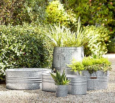 Eclectic Galvanized Metal Planter Large Traditional