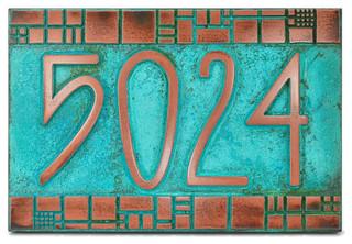 the batchelder tile address plaque 12 x 8 in copper. Black Bedroom Furniture Sets. Home Design Ideas
