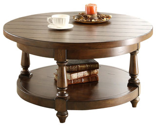 Riverside Furniture Newburgh Round Cocktail Table In Antique Ginger Traditi