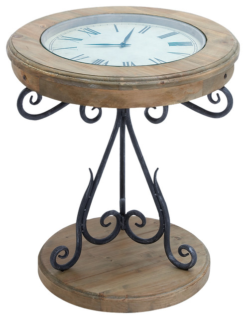 Wood Clock Accent Table Traditional Side Tables And