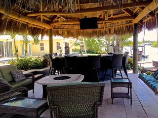 tiki hut outdoor kitchen and landscaping tropical miami by