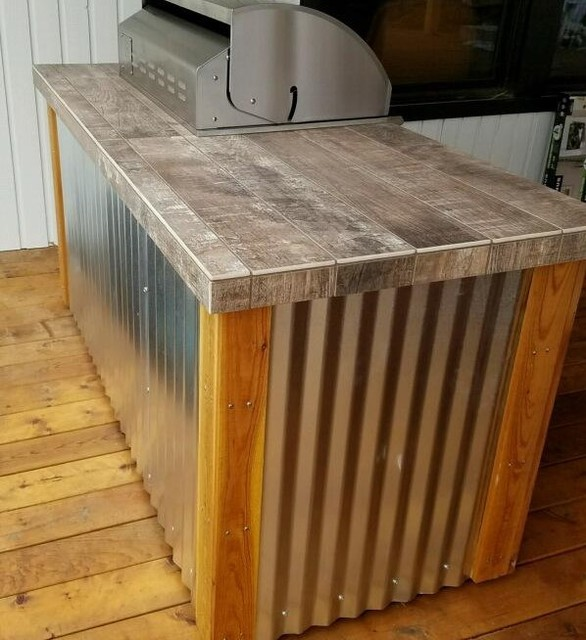 Cedar, Corrugated Metal, Porcelain Tile And Stainless