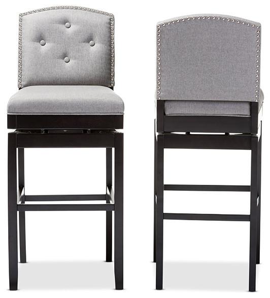 Ginaro Button Tufted Upholstered Swivel Bar Stool Set Of