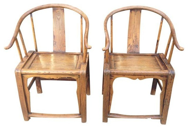 Vintage Chinese Horseshoe Chairs Ming Style Pair