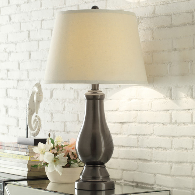 Accent Lighting Of Contemporary Table Lamps For Living: INSPIRE Q Schubert 3-Way Bronze Contoured Base 1-Light