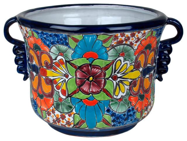 talavera ceramic squash flower pot with handles. Black Bedroom Furniture Sets. Home Design Ideas