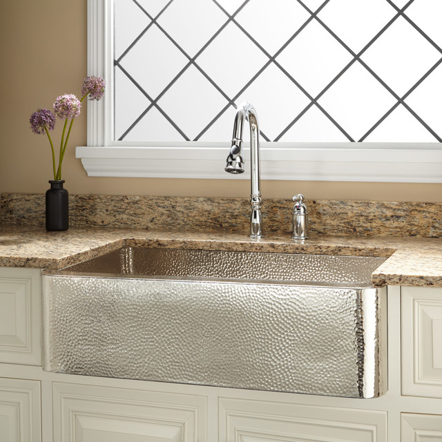 "33"" Reena Nickel-Plated Hammered Copper Farmhouse Sink"