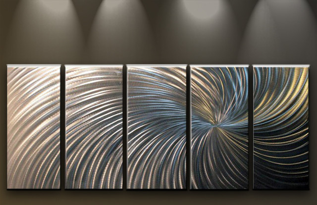 Contemporary Silver Wall Decor : Metal wall art abstract modern silver swirl contemporary