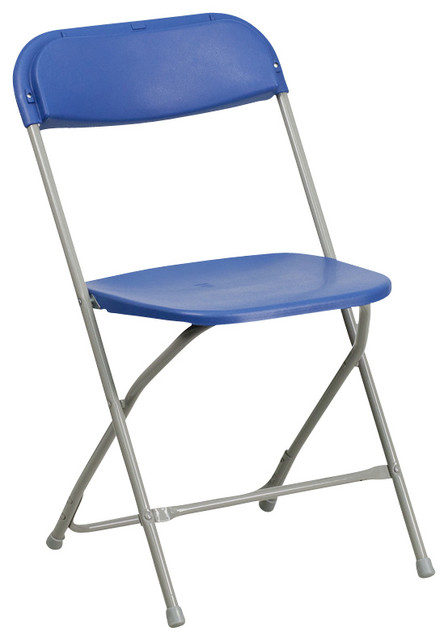 Flash Furniture Hercules Premium Blue Plastic Folding Chair Traditional O