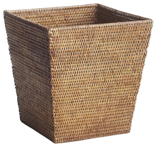 rattan wastebasket contemporary wastebaskets by wisteria 2 gallon slim trash can wastebasket bronze office bedroom