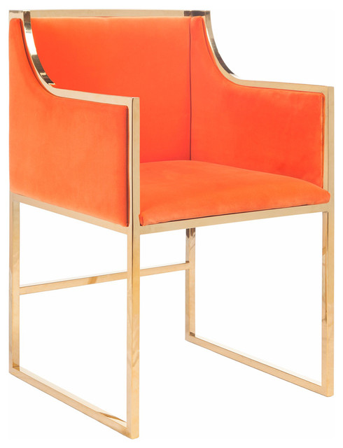 Worlds Away Orange Velvet Dining And Occasional Chair