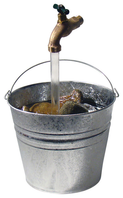Galvanized Bucket Floating Faucet Fountain Silver