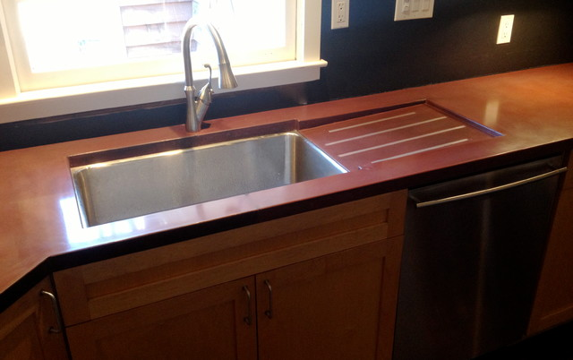 Custom Concrete Countertops With Drain Board Modern