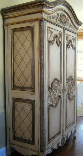 Hand Painted French Country Armoire Traditional