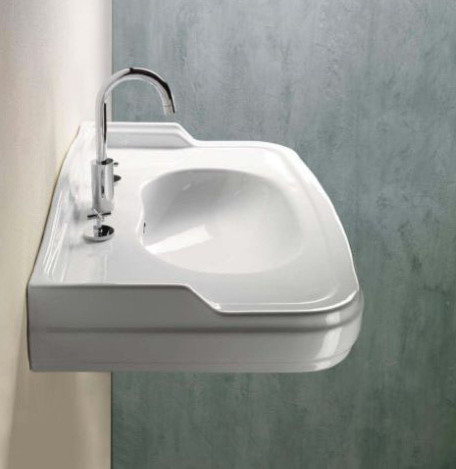 Classic Curved White Ceramic Wall Mounted Sink By Gsi