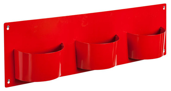 Ruby Red Metal Wall-Mounted Storage - Contemporary - Baskets