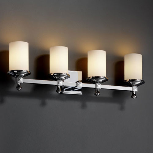 Fusion Deco Four Light Polished Chrome Bath Fixture Contemporary Bathroom Vanity Lighting