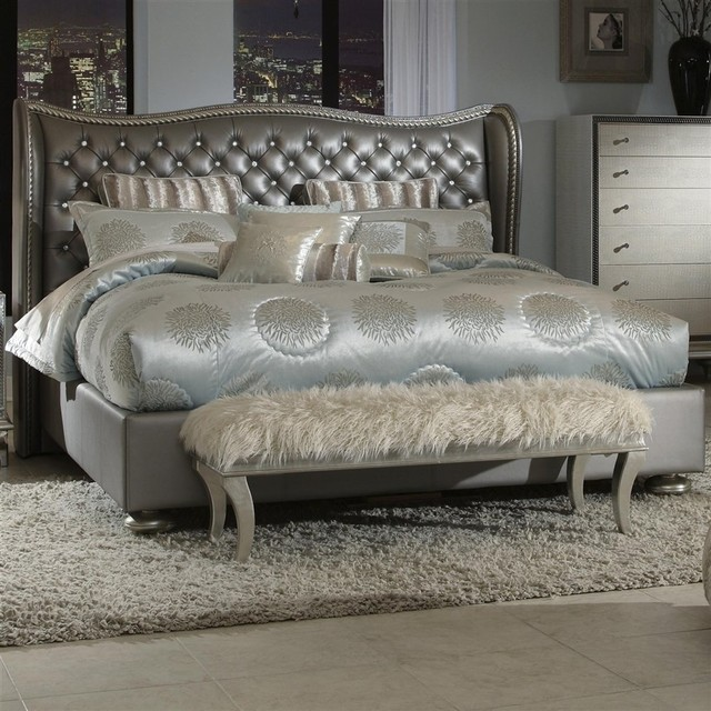 Hollywood Swank Graphite King Bed Contemporary Beds