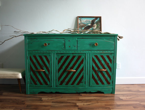 Vintage Art Deco Emerald Green Buffet Dresser By The Turquoise Iris Eclectic Buffets And Sideboards By Etsy