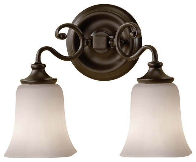 Feiss vs19602 orb brook haven 2 light oil rubbed bronze bathroom wall sconce transitional for Bathroom wall sconces oil rubbed bronze