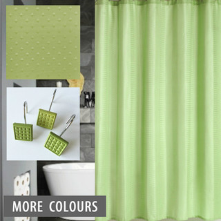 Dobby Shower Curtain And 12 X Decorative Hooks Green Contemporary Shower Curtains
