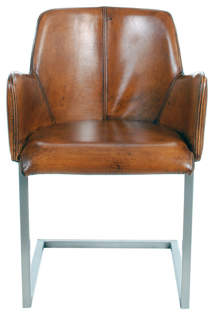 Steve Leather Arm Chair Midcentury Dining Chairs by