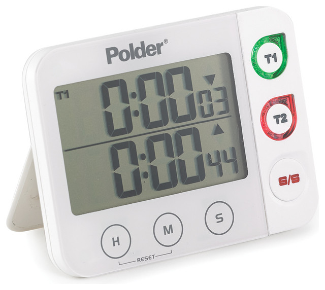 Polder Digital Dual Timer With Led Alert White Contemporary Kitchen Timers By Ekitchenworld