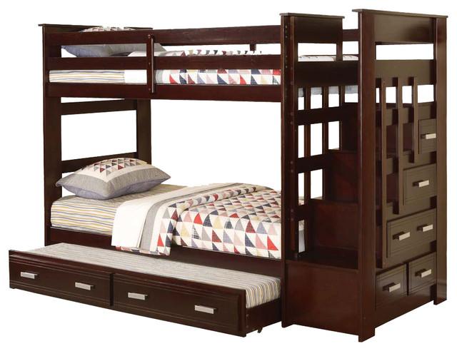Allentown espresso wood twin twin bunk bed w storage stairway drawers