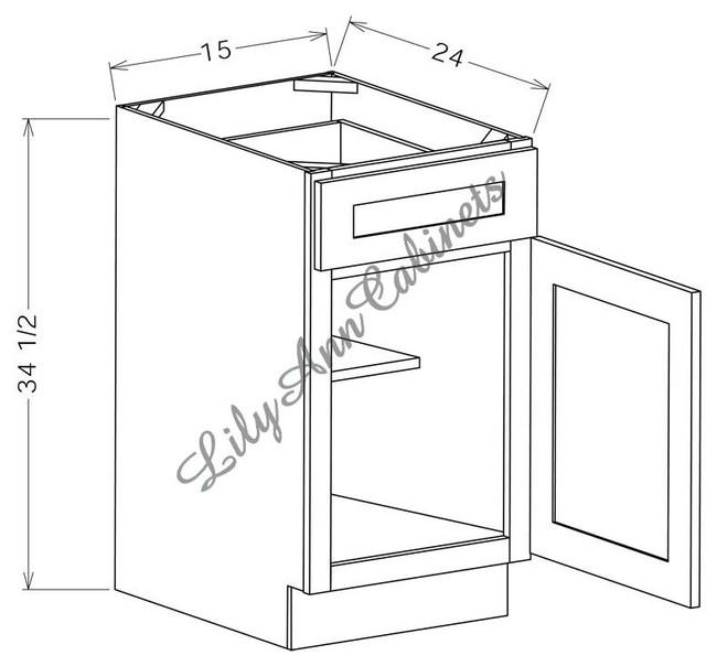 RTA Hickory Walnut Base Cabinets B15 - Single Door Base Cabinet modern ...