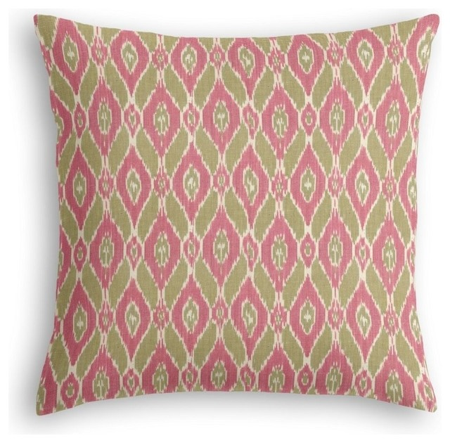 Eclectic Pillow Cases : Ikat Euro Sham, Green and Pink - Eclectic - Pillowcases And Shams - by Loom Decor