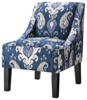 Hudson Swoop Chair Indigo Ikat Contemporary Armchairs