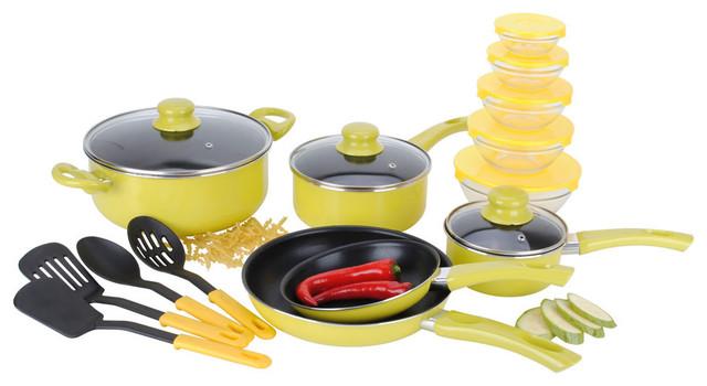 Alpine cuisine 22 piece aluminum non stick yellow cookware for Alpine cuisine cookware
