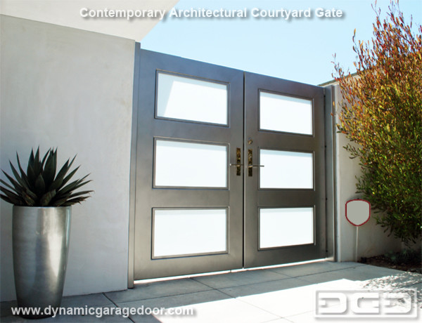 A Steel Amp Frosted Glass Gate With Modern Chrome Locking